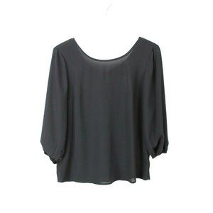 The Limited Black 3/4 Sleeve Bow Accent Top
